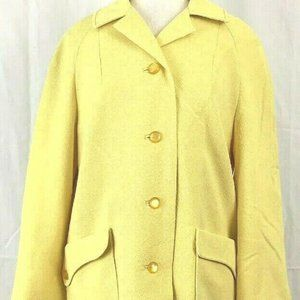 Betty Rose Coat Size Large Yellow Trench Overcoat